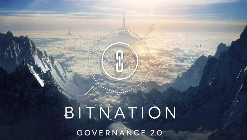 Clouds and snow-topped mountains with the bitnation logo, of a chain segment, and the words governance 2.0 superimposed